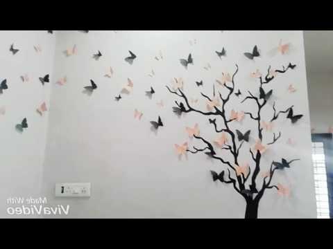 Fashionable Diy 3D Butterfly Wall Art – Youtube For Butterflies 3D Wall Art (View 9 of 15)