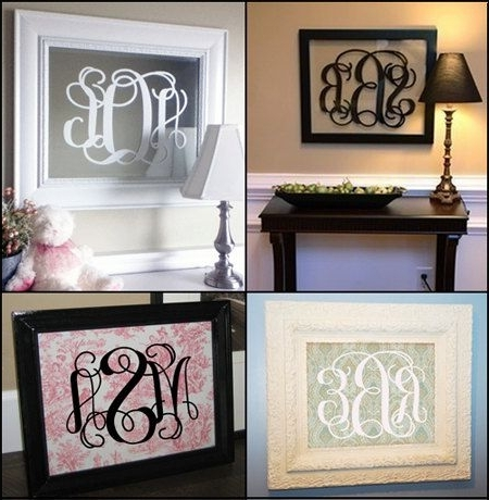 Fashionable Framed Monogram Wall Art Inside Monogram Fancy Scroll Initials Vinyl Wall Decal Sized For 16X (View 8 of 15)