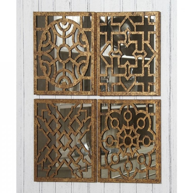 Fashionable Fretwork Wall Art Intended For 4 Square Mirrored Wall Art – Cotterell & Co (View 5 of 15)