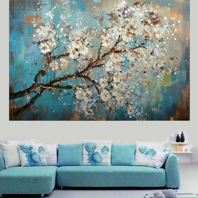 Fashionable Handpainted Modern Abstract Flower Canvas Art Decoration Of Oil Inside Abstract Flower Wall Art (View 8 of 15)