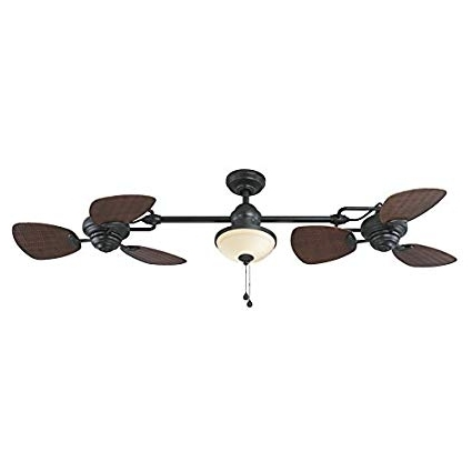 Fashionable Harbor Breeze Twin Breeze Ii 74 In Oil Rubbed Bronze Outdoor Downrod Intended For Oil Rubbed Bronze Outdoor Ceiling Fans (View 2 of 15)