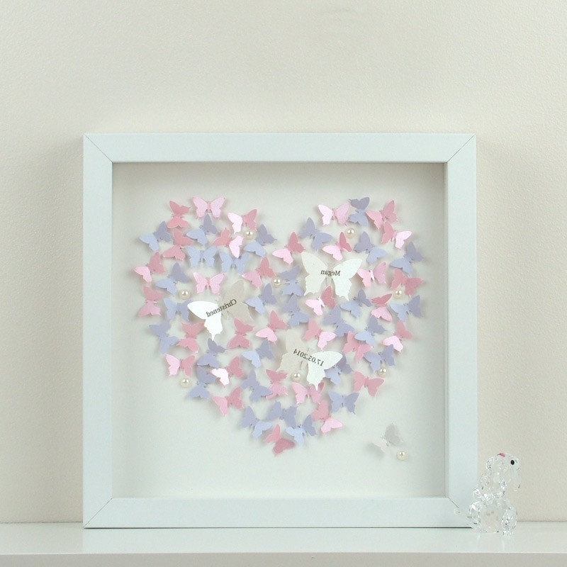 Fashionable Heart 3D Wall Art Pertaining To Personalised Wall Art With 3D Paper Butterflies Beautiful 3D, 3D (View 6 of 15)
