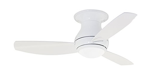 Fashionable Hugger Outdoor Ceiling Fans With Lights With Regard To Emerson Ceiling Fans Cf144Ww, Curva Sky, Modern Low Profile Hugger (View 8 of 15)