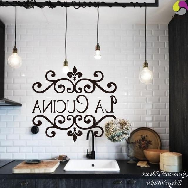 Fashionable La Cucina Kitchen Wall Sticker Italian Kitchen Quote Wall Decor Throughout Cucina Wall Art (View 9 of 15)
