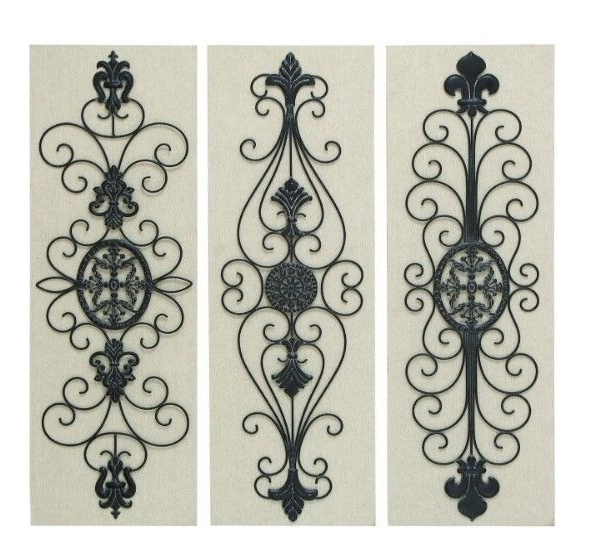 Fashionable Metal Fleur De Lis Wall Art Throughout Wall Art 3 Panel Wood Metal Fleur De Lis Scroll Work French Country (View 8 of 15)