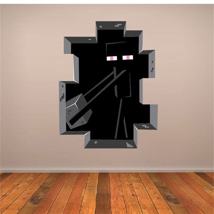 Fashionable Minecraft 3D Wall Art Within Latest Game Minecraft Enderman Wall Stickers Home Decor Minecraft (View 4 of 15)