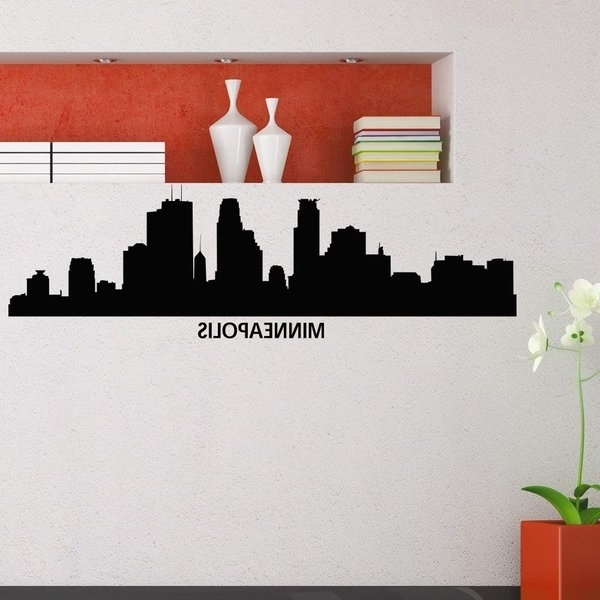 Fashionable Minneapolis Skyline City Silhouette Decor Vinyl Sticker Wall Art Within Minneapolis Wall Art (View 1 of 15)