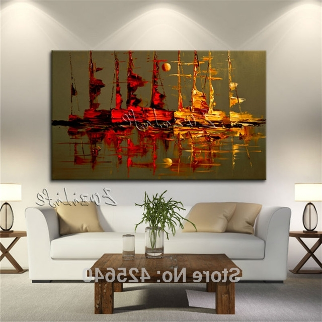 Fashionable Modern Abstract Wall Art Intended For Canvas Painting Yacht Ship Sailing Boat Hand Painted Modern Abstract (View 4 of 15)