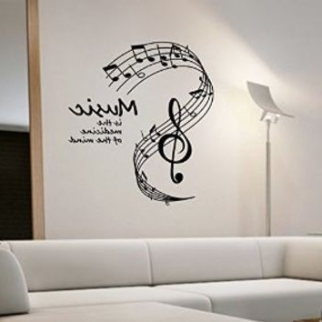 Fashionable Music Notes Wall Decal Vinyl Art Home From Amazon Intended For Music Note Art For Walls (View 3 of 15)