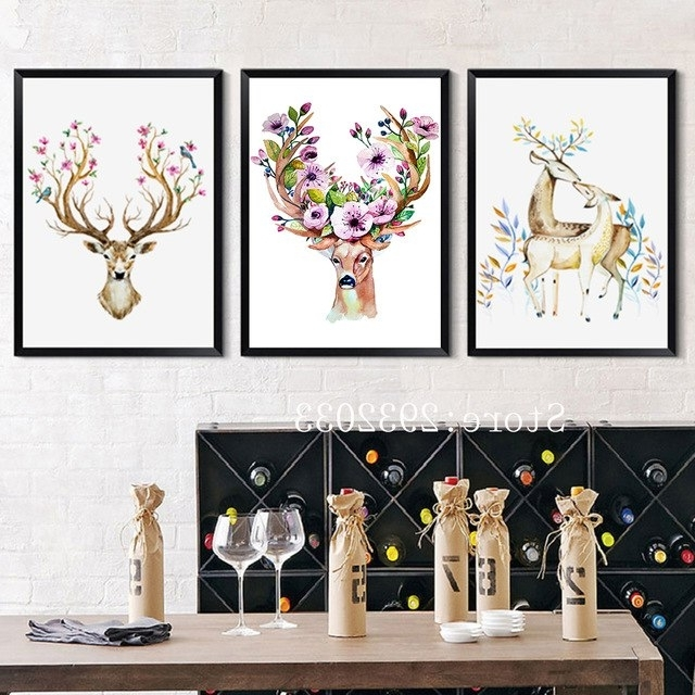 Fashionable Nordic Abstract Deer Head Art Painting Canvas Print Poster Flower In Abstract Deer Wall Art (View 6 of 15)