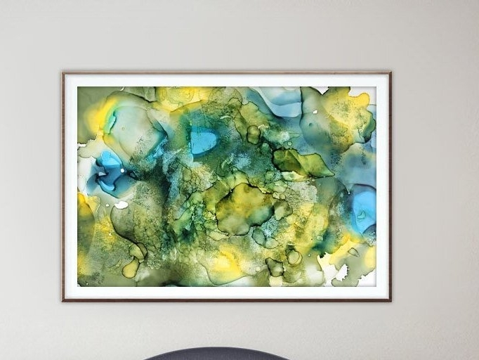 Fashionable Olive Green Abstract Wall Art Within Alcohol Ink Art.olive Green.blue.downloadable Prints (View 4 of 15)