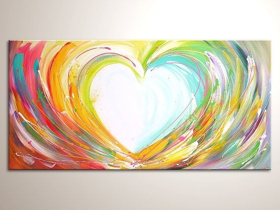 """Fashionable Original Modern Art Painting """"happy Love"""" , Abstract Contemporary In Abstract Heart Wall Art (View 11 of 15)"""