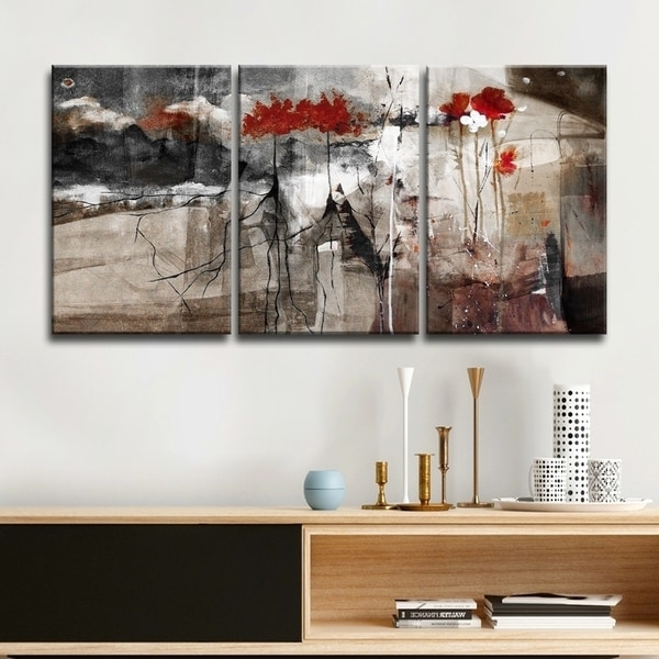 Fashionable Overstock Abstract Wall Art in Shop Ready2Hangart 'abstract' Multi-Panel Canvas Wall Art - Grey