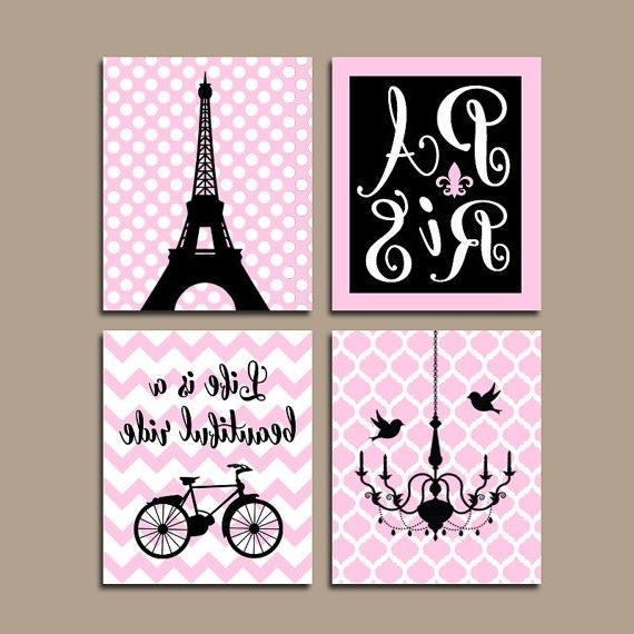 Fashionable Paris Wall Art Canvas Or Prints Eiffel Tower Artwork Pink Black Girl Within Paris Themed Wall Art (View 2 of 15)