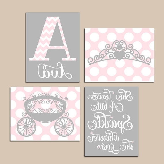 Fashionable Princess Canvas Wall Art Pink Gray Nursery Artprincess Artbaby Girl In Princess Canvas Wall Art (View 3 of 15)