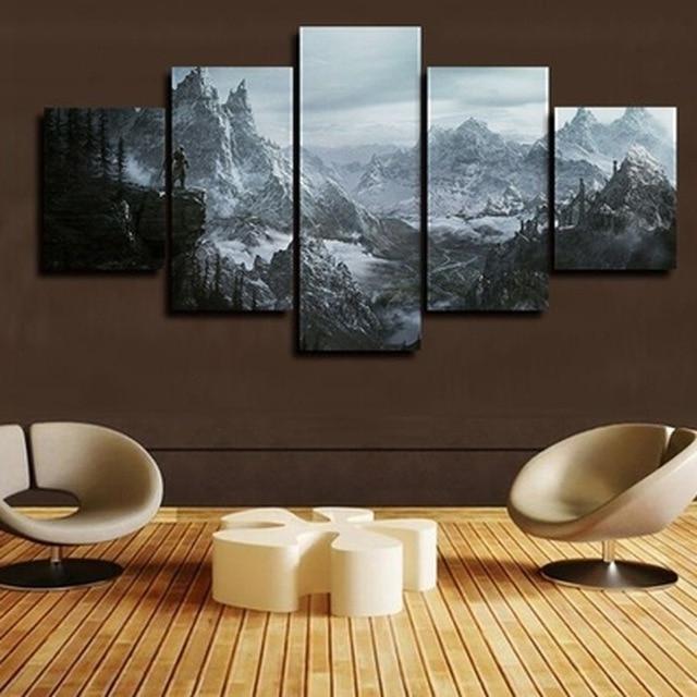 Fashionable Split Wall Art Inside 2017 Jie Do Art 5 Panels Split Canvas Print,the Elder Scrolls V (View 4 of 15)