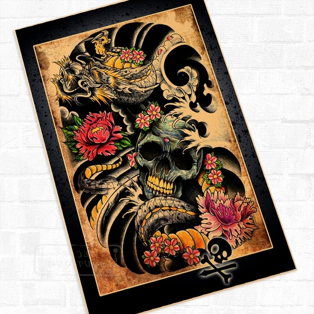 Fashionable The Skeleton Creative Classic Tattoo Wall Mural Poster Decorative Regarding Tattoo Wall Art (View 2 of 15)