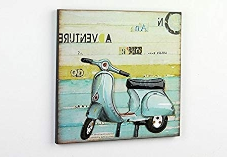 Fashionable Vespa 3D Wall Art For Wood/metal 3D Wall Art Picture Vespa Scooter Decoration: Amazon (View 15 of 15)