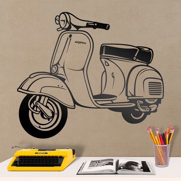 Fashionable Vespa 3D Wall Art Pertaining To Wall Sticker Moto Vespa (View 8 of 15)