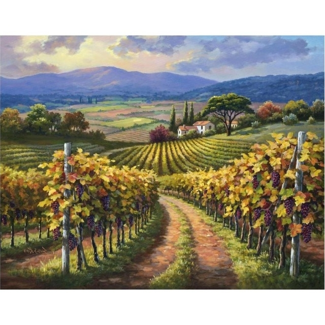 Fashionable Vineyard Wall Art Regarding Hand Painted Modern Art Landscapes Oil Painting Canvas Vineyard Hill (View 5 of 15)