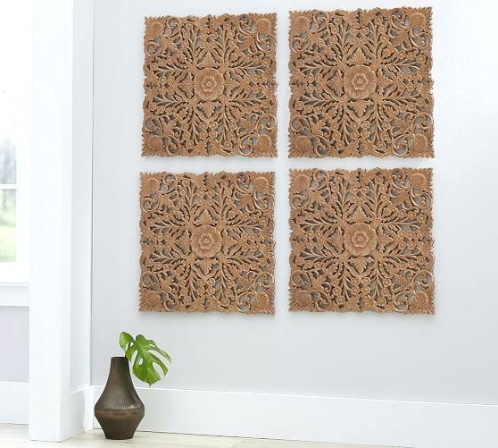 Fashionable Wall Carved Ornate Carved Wood Panel Wall Art Set Of 4 Wooden Carved Inside Wood Panel Wall Art (View 2 of 15)