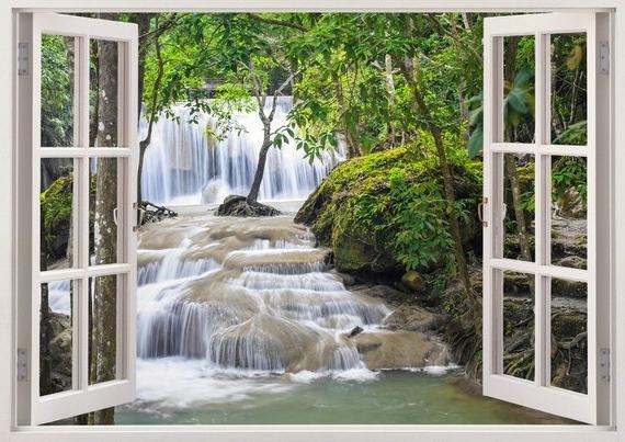 Fashionable Waterfall Wall Art Inside Waterfall Wall Art 3D Window Waterfall Vinyl Wall Decal For (View 6 of 15)
