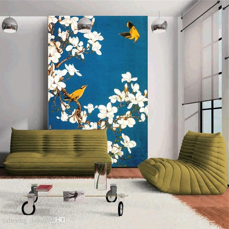 Fashionable White Birds 3D Wall Art With Regard To Vintage Wall Mural Hand Painted Flowers And Birds Photo Wallpaper (View 9 of 15)