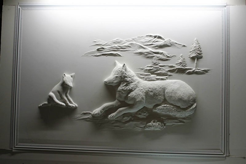 Fashionable Wolf 3D Wall Art Inside Berne Mitchell Turns Drywall Into Art With Joint Compound (View 3 of 15)
