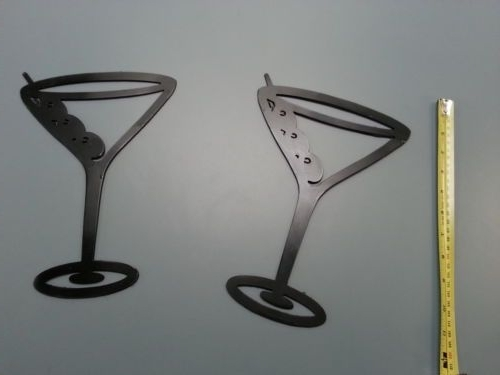 Favorite 2 Metal Black Martini Glasses Wall Art Decor Accent Contemporary With Martini Metal Wall Art (View 10 of 15)