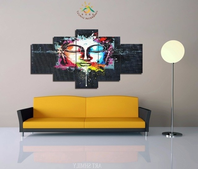 Favorite 3 4 5 Pieces Modern Printed Abstract Buddha Wall Art Painting Regarding Abstract Buddha Wall Art (View 9 of 15)