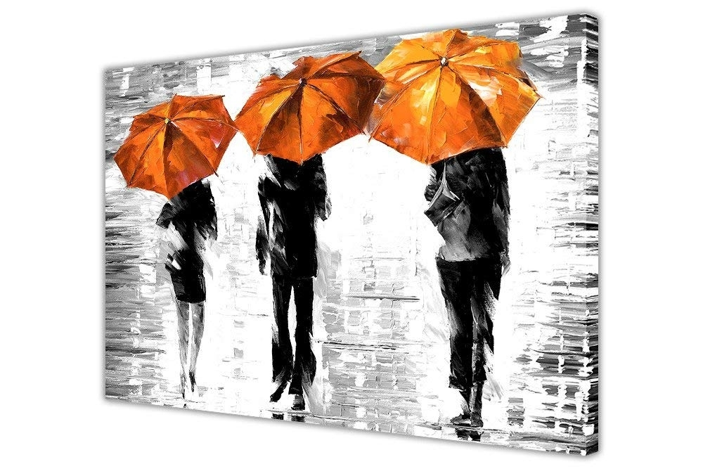 Favorite 3 Orange Umbrellasleonid Afremov Canvas Wall Art Prints Framed Regarding Abstract Orange Wall Art (View 10 of 15)
