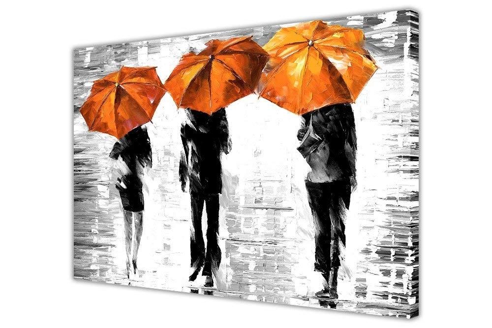 Favorite 3 Orange Umbrellasleonid Afremov Canvas Wall Art Prints Framed Regarding Abstract Orange Wall Art (View 10 of 15)