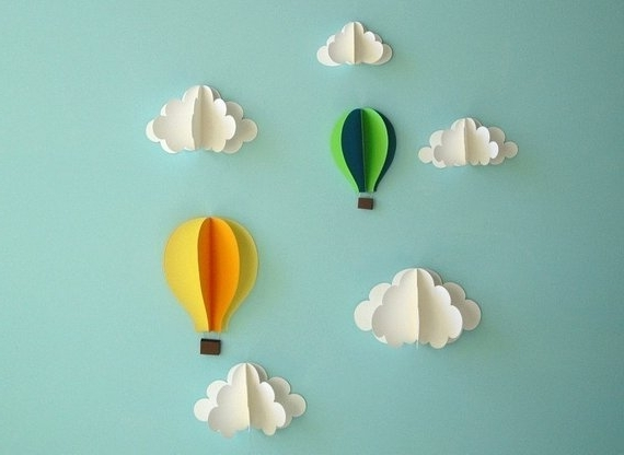 Favorite 3D Paper Wall Art Regarding Hot Air Balloon Wall Decal Paper Wall Art Wall Decor 3D (View 11 of 15)