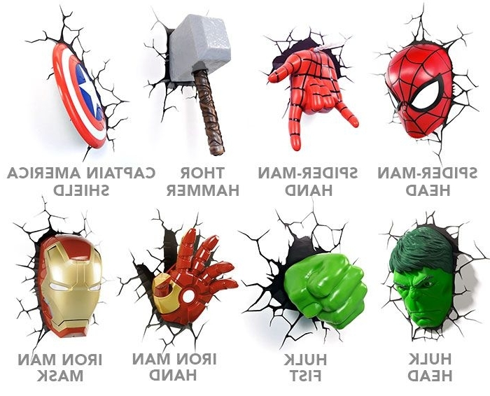 Favorite 3D Wall Art Captain America Night Light Inside Bbbbffebbf Superhero Wall Lights Avengers Wall Lights Awesome (View 8 of 15)
