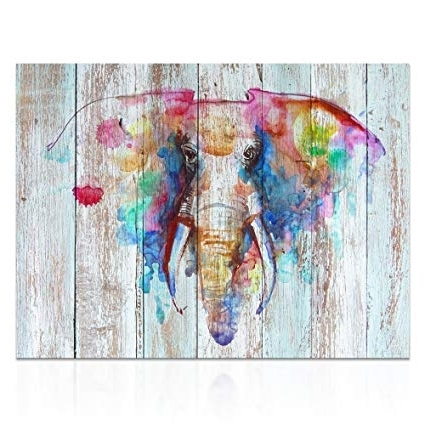 Favorite Abstract Elephant Wall Art Throughout Amazon: Visual Art Decor Large Abstract Elephant Painting Prints (View 10 of 15)