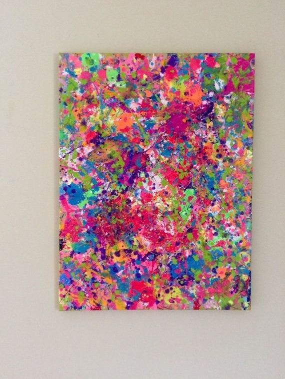Favorite Abstract Neon Wall Art Within Splatter Neon Art Neon Painting Abstract Canvas Art Original (View 15 of 15)