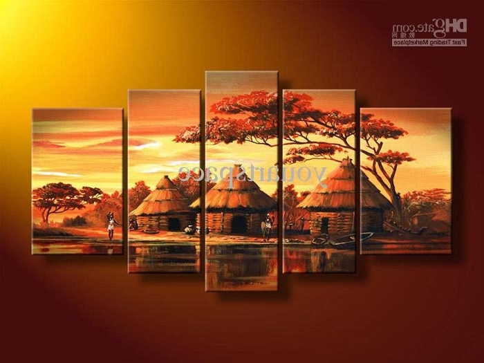 Favorite Abstract Orange Wall Art With 2018 5 Panel Wall Art African Abstract Orange Sunset Oil Painting On (View 7 of 15)