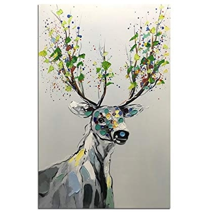 Favorite Amazon: Asdam Art Abstract Colorful Deer Painting On Canvas 100 Throughout Abstract Deer Wall Art (View 7 of 15)