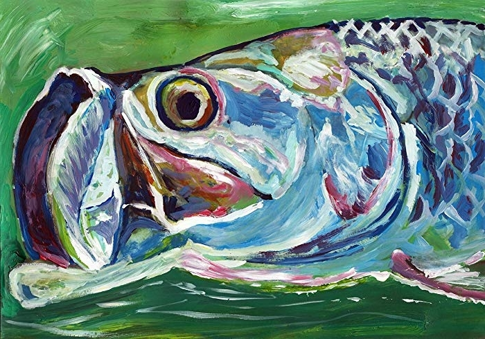 Favorite Amazon: Colorful Abstract Tarpon Painting, Fish Wall Art, Decor Inside Abstract Fish Wall Art (View 10 of 15)