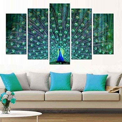 Favorite Amazon: Wall Art For Living Room 5 Pieces Large Green Framed Inside Large Green Wall Art (View 4 of 15)