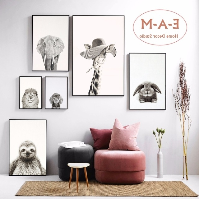 Favorite Animal Wall Art For Black And White Funny Animal Canvas Art Print Painting Poster Wall (View 9 of 15)