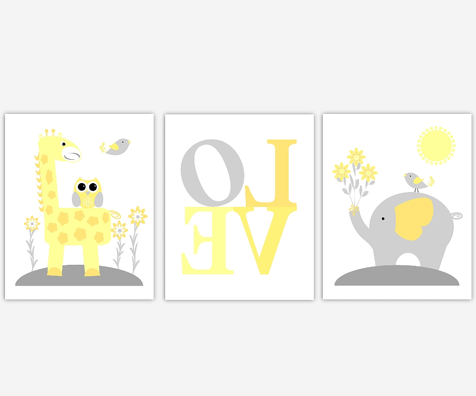 Favorite Baby Nursery Canvas Wall Art Yellow Gray Grey Elephant Giraffe Intended For Canvas Prints For Baby Nursery (View 9 of 15)
