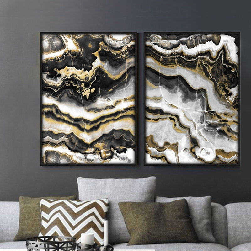 Favorite Black And Gold Abstract Wall Art Regarding Home Decoration Black Gold Abstract Painting Marble Posters And (View 12 of 15)