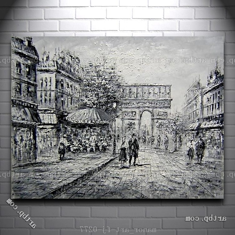 Favorite Black And White Paris Wall Art With Regard To Canvas Wall Art Oil Painting Modern Decor Paris Arc De Triomphe (View 4 of 15)