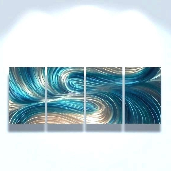 Favorite Blue And Silver Wall Art Intended For Large Blue Abstract Painting Silver Accents Urban Wall Art Original (View 3 of 15)