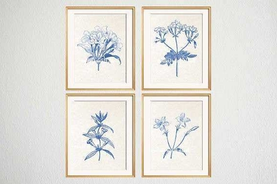 Favorite Blue And White Wall Art Luxury Blue White Botanical Wall Art Set Of Within Blue And White Wall Art (View 8 of 15)