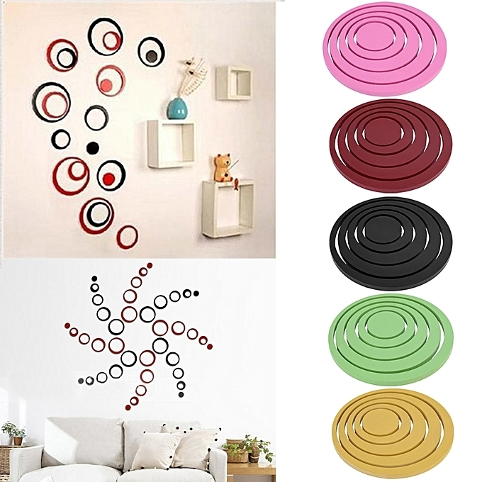 Favorite Buy Generic Home Hot Circles Stickers 5 Rings 3D Wall Art Decals Throughout Circles 3D Wall Art (View 11 of 15)