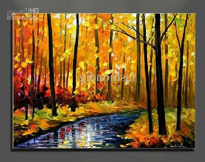 Favorite Canvas Landscape Wall Art Pertaining To Oil Painting Canvas Autumn Landscape Scenery River Yellow Home (View 4 of 15)