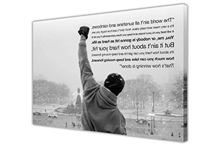 Favorite Canvas Wall Art Prints Iconic Rocky Balboa Hope Quote Black And With Regard To Rocky Balboa Wall Art (View 2 of 15)