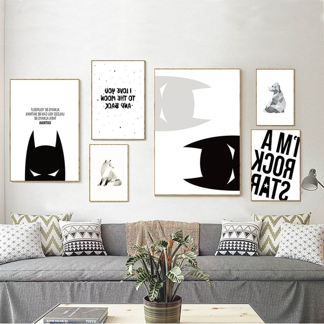 Favorite Cartoon Batman Inspirational Quote Canvas Poster Nursery Canvas Art Within Nursery Canvas Art (View 4 of 15)